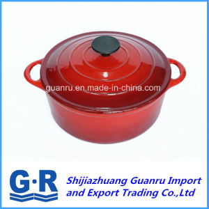Cast Iron Enamel Casserole with Red Enamelled pictures & photos