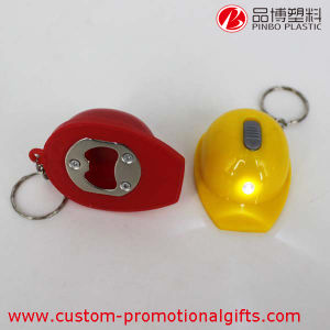 Customized Mini LED Light Helmet Shape Bottle Opener
