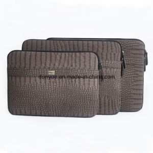 Factory Price Eco-Friendly Croco Grain PU Leather Laptop Sleeve, Velvet Lining Laptop Bag/iPad Case with Zipper pictures & photos