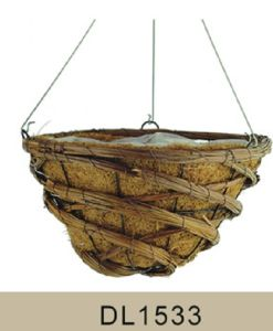 Garden Decorative Coco and Rattan Hanging Flower Planter Basket pictures & photos