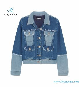 Light-Blue and MID-Blue Stretch-Denim Short Jackets for Women Emzyme Wash pictures & photos