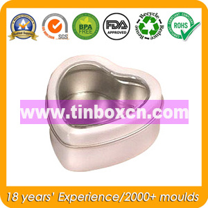 Heart Shape Storage Tin Box with Clear Window, Food Tin pictures & photos