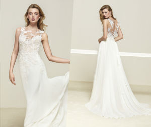 Soft and Flowy Beautiful Back Wedding Gown pictures & photos