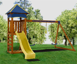 Wood Plastic Composite Playground Children Swing and Slide Set (05) pictures & photos