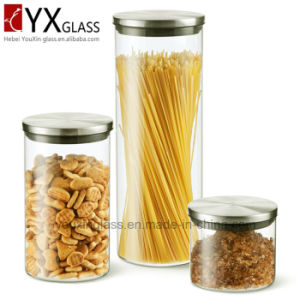Borosilicate Glass Storage Jar with Stainless Steel Lid/High Qoality Glass Holders Collection Storage Tank Glass Pot pictures & photos
