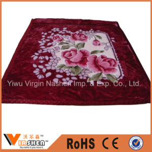Super Soft Thick Flowers 2 Ply Wedding Red Raschel Blanket pictures & photos