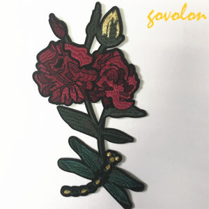 2017 New Arrival Red Rose Patch with Dragonfly pictures & photos
