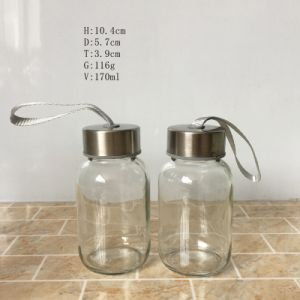 5oz Short Glass Water Bottles with Metal Lids 150ml pictures & photos