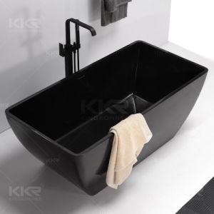 Black Artificial Stone Solid Surface Freestanding Bathtub pictures & photos