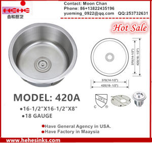 Round Sink, Bar Sink, Kitchen Sink D420 pictures & photos
