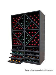 Black Wooden Drawer Wine Cabinet for 112 Bottles Wine Storage pictures & photos