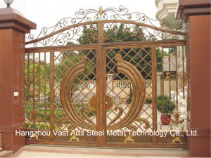 Haohan High-Quality Exterior Security Decorative Wrought Iron Fence Gate 20 pictures & photos