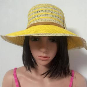 100% Straw Hat, Fashion Lady′s Style with Stripes and Flowers Decoration pictures & photos