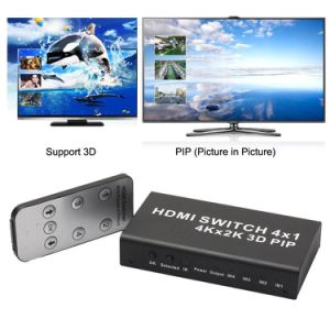 4X1 HDMI Switcher with Picture-in-Picture (PIP) and Wireless Remote Control pictures & photos