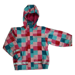 Colourful Hooded Check PU Jacket/Raincoat pictures & photos