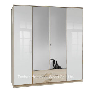 Wooden High Gloss 4 Door Mirrored Combi Wardrobe (WB04) pictures & photos