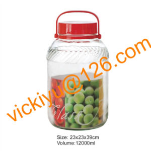 12L Fruit Wine Glass Bottles, Large Glass Storage Jars with Plastic Cap