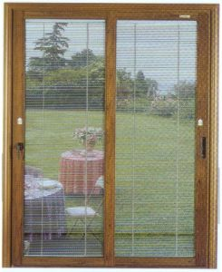 Aluminum Sliding Door with Hand Movement Shutter pictures & photos