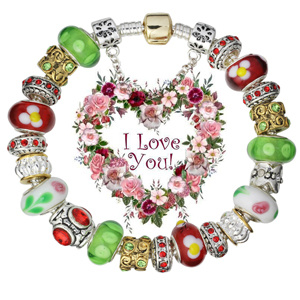 Valentine gifts European Silver Green & Red Charm Beaded Bracelets Jewelry (GQ21)