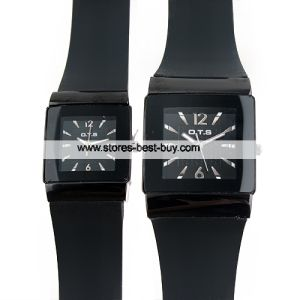 His-and-Hers Ots Cool Quartz Black Band Watches