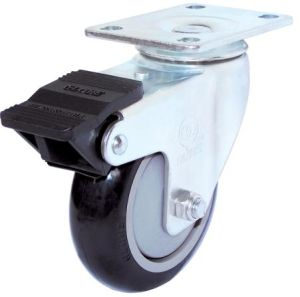 Swivel PU Caster with Dual Brake (Black, Round Surface) pictures & photos