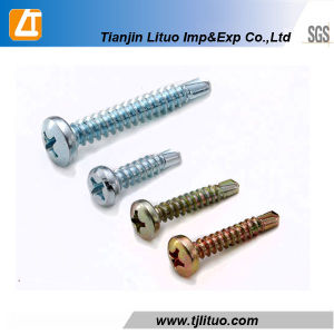 Blue Zinc Phillips Pan Head Shoulder Self Tapping Screw pictures & photos