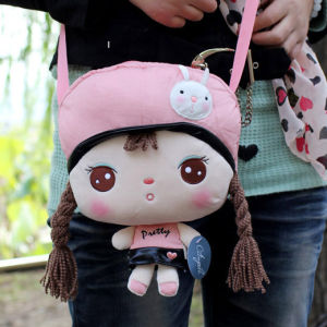 Free Shipping Metoo Plush and Stuffed Toy Rabbit Angela Girl Aslant Bag for Girl/Children Gifts, 6 Animals Optional, 21x27cm 1PC