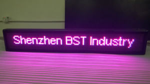 Programmable Semi-Outdoor Pink Color LED Moving Sign (P10mm) pictures & photos