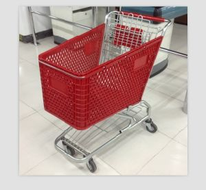 Nice Quality 180L Handle Wheels Plastic Shopping Cart and Baby Seats, Packing Use Air Bubble Film (YD-T6) pictures & photos