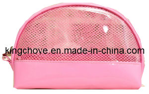 Pink Mesh with Matching Color PU Cosmetic Bag / Fashion Bag (KCC91) pictures & photos