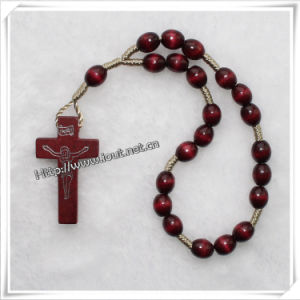 Hand Made Fashion Hand-Made Wood Rosary Beads Bracelet and Cross for Praying (IO-CB086) pictures & photos
