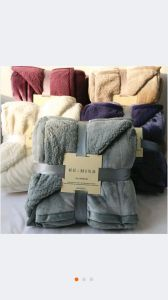 Winter Blanket Sr-B170228-7 Solid Flannel with Sherpa Backside Blanket pictures & photos