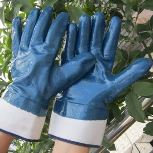 Fully Double Dipped Blue Nitrile Gloves Protective Safety Work Glove pictures & photos