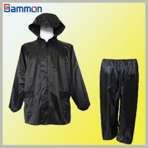 Thicken Dacron Black Raincoat Suit (SR052)