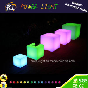 RGB LED Lighted Rechargeable Multi-Color Cube Stool pictures & photos