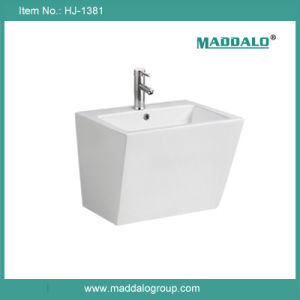 Luxury Square Big Wall Hung Wash Basin, Luxury Sanitary Ware Ceramic Basin (HJ-1381)