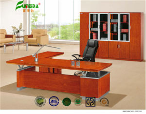 MDF High End Metal Frame Wood Veneer Office Table pictures & photos