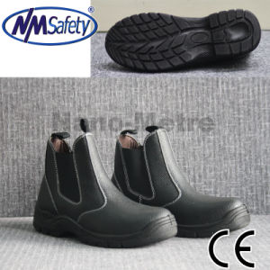 Nmsafety Cow Split Leather Middle Cut Black Safety Work Boots pictures & photos
