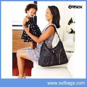 Shoulder Large Capacity Black Quilted Nylon Baby Diaper Bag pictures & photos