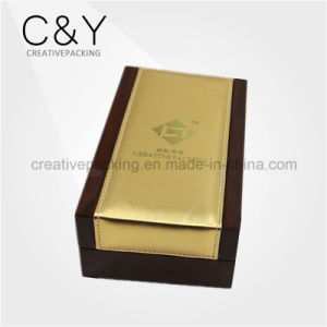 Piano Finish Wooden Perfume Packaging Box with Gold PU Leather on Top pictures & photos