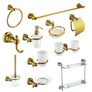 Luxury Brass Bathroom Accessory Sets in Golden Plated pictures & photos