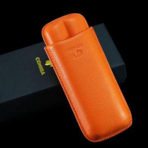 Cohiba Orange Soft Leather Cigar Case Holder 2 Tube (ES-EB-117) pictures & photos
