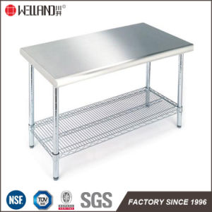 Hotel Restaurant Commercial Kitchen Equipment Stainless Steel Top Working Table 304# pictures & photos