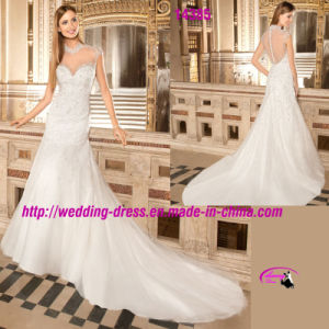 High Collar Sweetheart Beading Bridal Dress Wedding with Cap Sleeve pictures & photos