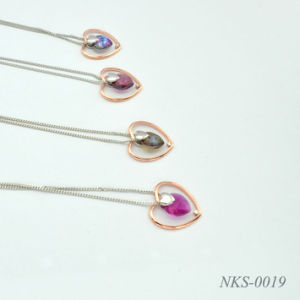 925 Silver / Stainless Steel Necklace Crystal Fashion Jewelry Nks-0019
