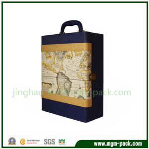 Luxury Design PU Leather Wrapping Wood Wine Box pictures & photos