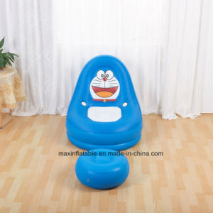 Indoor Living Room Furniture Blue Color Inflatable Flocked PVC Lazy Air Sofa with Carton pictures & photos