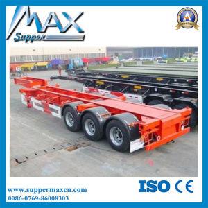 Tri Axles Skeletal Container Semi-Trailer with Plate Floor pictures & photos