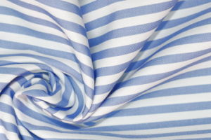Skyblue/White Stripes 60 Cotton 40 Polyester Twill Yarn Dyed Fabric pictures & photos