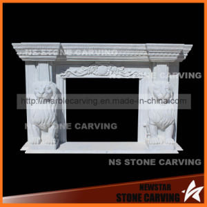 White Marble Fireplace Mantel with Two Lions Carving pictures & photos